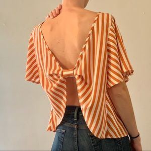 Tops - 🧡Vintage orange striped shirt with open back🧡
